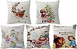 Funda de almohada de Navidad,fundas de almohada de Navidad,fundas de cojín de Navidad para sofá,juego de 5 de 18 x 18 pulgadas,funda de almohada cuadrada,para sofá,cama,dormitorio,sala de estar,decora