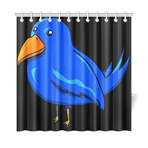 Presock Duschvorhänge, Home Decor Bath Curtain Bird Blue Twitter Tweet Animal Polyester Fabric Waterproof Shower Curtain for Bathroom, 60 X 72 Inch Shower Curtains Hooks Included