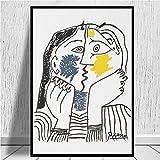 Pablo Picasso El Beso 1979 Obra De Arte Poster Abstracto LíNea Figura Lienzo Impresiones Picasso Pared Arte Cuadros Picasso Poster Salon Hogar Deco 50x70cm No Marco