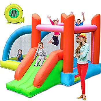 Stoog Kids Bounce House with Blower Inflatable Bouncers for Outdoor Jumping Castle with Slide Fun Ideal Gifts for Kids Children Home