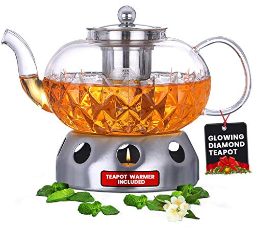 Glowing Diamond Glass Tea Pot 40 oz with Fine Mesh stainless steel loose leaf infuser Keep your favorite tea blend warm with this teapot warmer included Stovetop and Microwave compatible