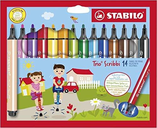 Gefederter Dreikant-Filzstift - STABILO Trio Scribbi - 14er Pack - mit 14 verschiedenen Farben