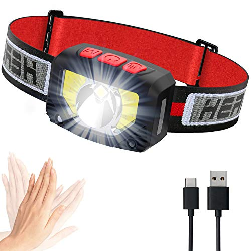 Linterna de cabeza LED, recargable por USB, superbrillante, 1000 lúmenes, linterna LED COB de 80 g, lámpara de cabeza con sensor de movimiento IPX5 resistente al agua para niños adultos