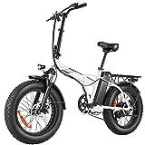 BIKFUN Bicicleta Electrica Plegable 48V 12.5Ah, Bicicleta Eléctrica de 20 Pulgadas, 250W Motor Sin Escobillas, Shimano de 7 Velocidades para Montaña, Playa, Ciudad, Campo de Nieve (20' Gordo Blanco)