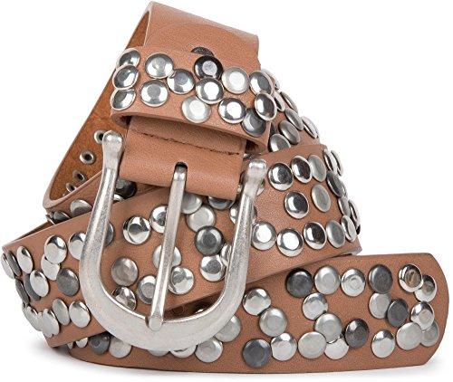 styleBREAKER Nietengürtel im Vintage Style, Gürtel kürzbar, Damen 03010008, Farbe:Rehbraun;Größe:85cm
