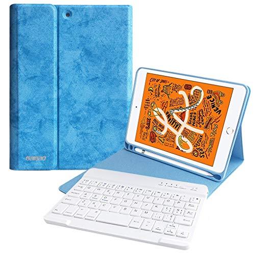 Funda para iPad Mini 5/Mini 4 con Teclado Español (Ñ), Funda Tecaldo 7.9'' con Ranura de Lápiz y Teclado Bluetooth Inalámbrico para iPad Mini 5 2019/Mini 4 2015 con Smart Auto Sleep-Wake(Azul Cielo)