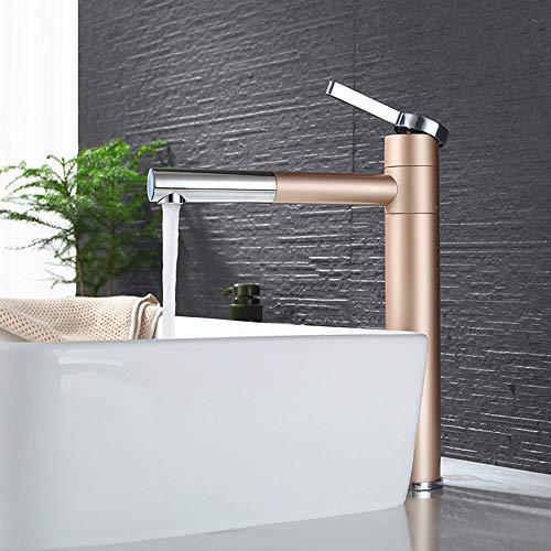 HomeLava Waschtischarmatur Moderne Hoch Wasserhahn Bad Einhebelmischer Badarmatur Mischbatterie Armatur Waschbecken für Badezimmer Champagner Gold