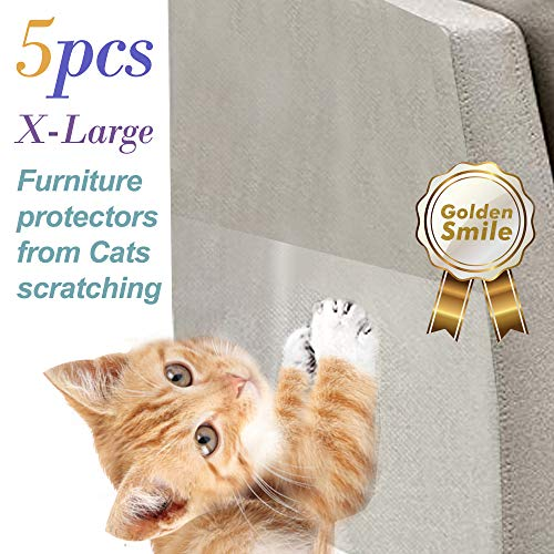 Golden-Smile. 5 PCS cat Scratch Furniture Protectors. XL Size 17 inches X 12 inches. Stop cat Scratching Sofa and Furniture. Pinless self-Adhesive Pads. Cat Scratch Deterrent. Cat Scratching Post.