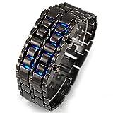 Comtervi Digitale LED Bracelet, Fashion Unisexe Miroir Face Bleu LED Numérique Titane Alliage Montre Au Poignet