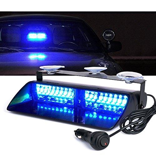 LifeUp - Luce stroboscopica di emergenza per auto, da 12V, 16LED per l'interno del veicolo: tettuccio, cruscotto, finestrino laterale o parabrezza, con ventosa