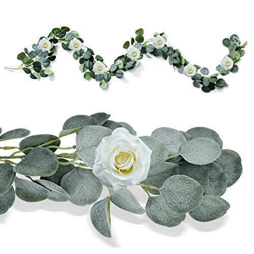 Xunlong 6.23 Ft Artificial Eucalyptus Leaves Garland With Willow Vines Garland Decoration Hanging Greenery Wedding/Dinner/Party Decoration Backdrop Arch Wall Decor (Rose)