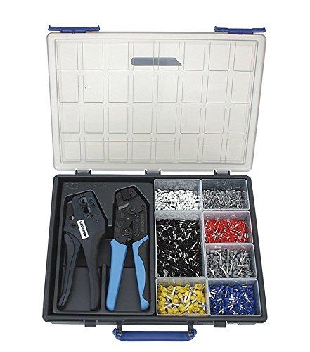 Gedore RZB1-18CR 2-delige precisie-krimptangenset in stevige kunststof koffer, inclusief nuttige accessoires en een assortiment adereindhulzen.