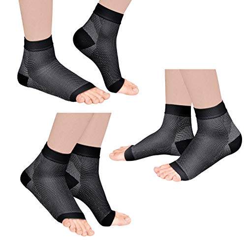 Laneco Plantar Fasciitis Socks (3 Pairs), Compression Foot Sleeves with Heel Arch & Ankle Support, Great Foot Care Compression Sleeve for Men & Women