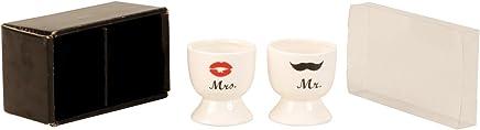 Preisvergleich für Eierbecher Porzellan-Eierbecher, Mr und Mrs, Hochzeit Brautpaar Geschenk 2-er Set, 6 x 5 cm