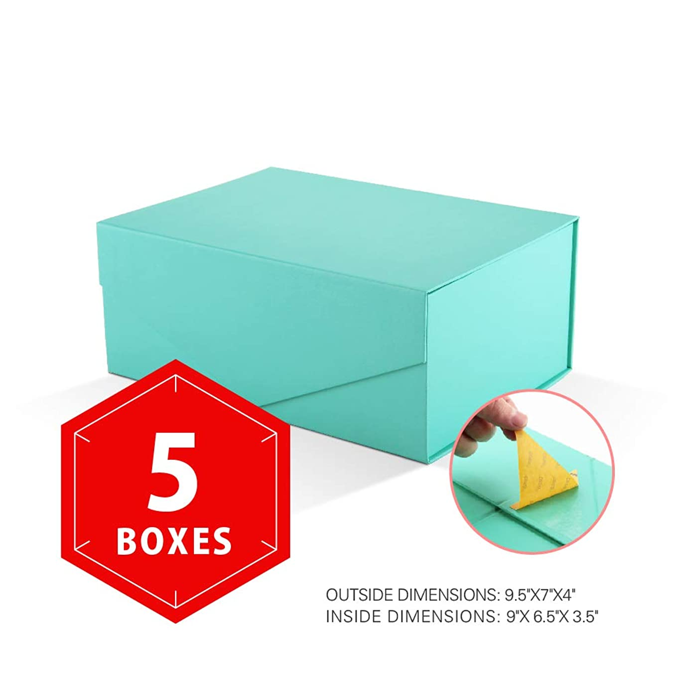 PACKHOME Gift Boxes Rectangular 9.5x7x4 Inches, Bridesmaid Boxes Rectangle Collapsible Boxes with Magnetic Lid for Gift Packaging (Matte Turquoise with Embossing, 5 Boxes)