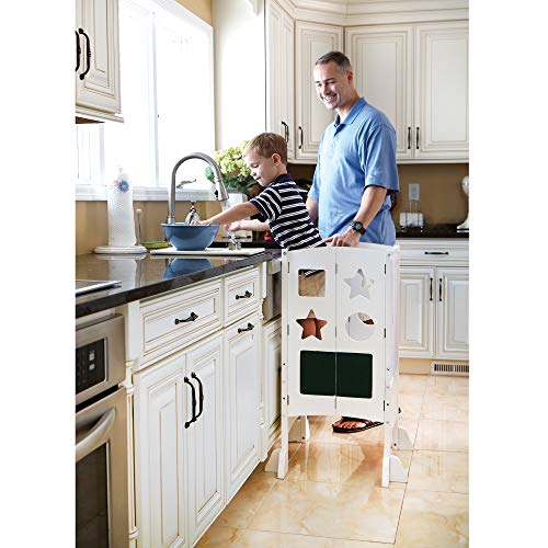 Guidecraft Classic Kitchen Helper Stool - White with 2 Keepers and Non-Slip Mat: Foldable, Adjustable Height Safety Cooking Stool for Toddlers with Chalkboard and Whiteboard Message Boards
