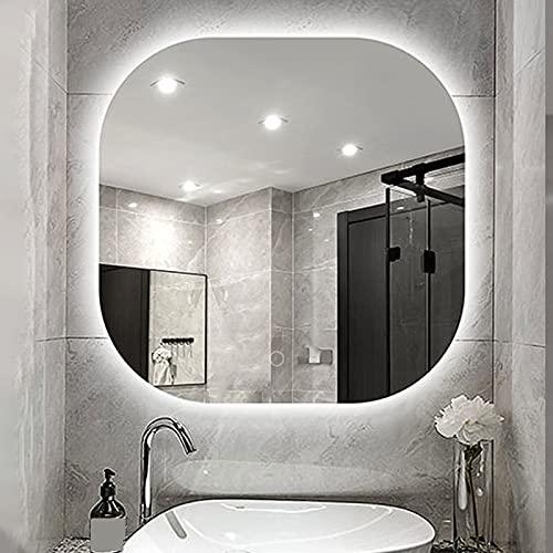 Espejo Baño Pared Cuadrado LED de Antivaho, Táctil Espejo Moderno de Pared para Tocador Dormitorio 50cm(20in),60cm(24in),70cm(27.5in),80cm(31.5)