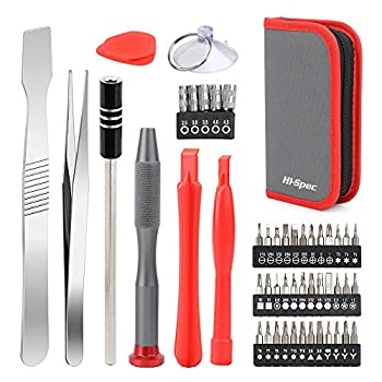Hi-Spec 49 Piece Repair & Opening Tool Kit Set with Precision Screwdriver Bits for Electronics & Computers Mobile Smart Phones Laptops Game Controllers & Gadgets All in a Zipper Case