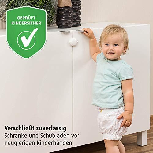 reer Schrank-Schloss für Doppeltüren, vom schwäbischen Kindersicherheitsexperten, weiß