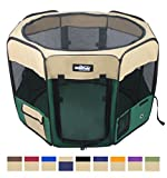 EliteField 2-Door Soft Pet Playpen, Exercise Pen, Multiple Sizes and Colors Available for Dogs, Cats and Other Pets (36' x 36' x 24'H, Beige+Green)