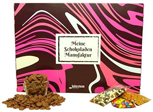 bakeryteam Meine Schokoladen Manufaktur DIY Selbermachset Vollmilch Kakao 38 Prozent zartschmelzend (Vollmilchschokolade) in Geschenkverpackung