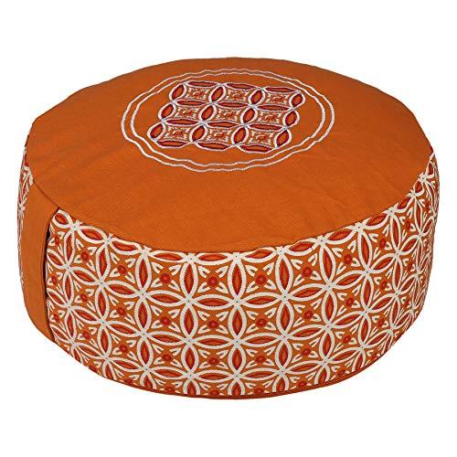 Tvamm-Lifestyle Rund 7 Chakra Meditationskissen (Zafu) Buchweizenschalen, Ø 36 cm x 15 cm, Bezug und Inlett 100{dce9b6ff2ef9f15b2ac876ea22957cff32d19be47fa8ed1c1eef947bdb6611f0} Baumwolle, Bezug und Inlett maschinenwaschbar bis 30º C. (Orange neu)