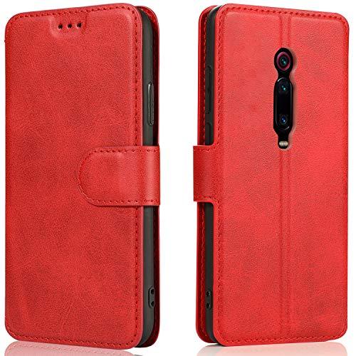 LeYi Hülle für Xiaomi Mi 9T / 9T Pro/Redmi K20 Pro / K20 Mit HD Folie Schutzfolie,Leder Wallet Handyhülle Magnet Tasche Hülle Slim Silikon TPU Schutzhülle Cover für Handy 9T Matt Rot