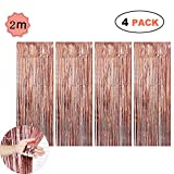 Geenber Rose Gold Foil Curtains Metallic Fringe Hanging Tinsel Curtains Shimmer Party Door Curtain Photobooth Props for Birthday Wedding Bridal Baby Shower Photo Booth Backdrop (4 pack)