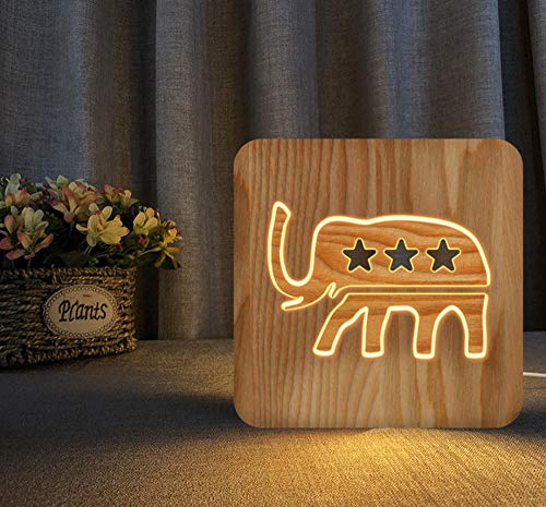 3D night light solid wood carving hollow creative craft LED table lamp(Elephant)