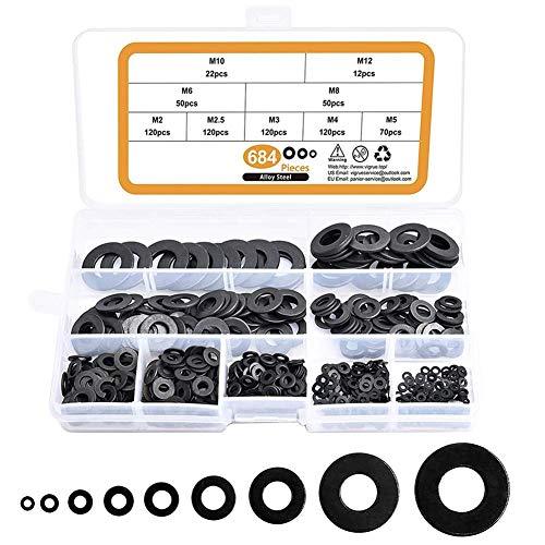 684 PCS Carbon Steel Unterlegscheiben Runde Distanzscheibe Dichtung Sicherungsscheibe Dichtung Hardware-Sortiment Set