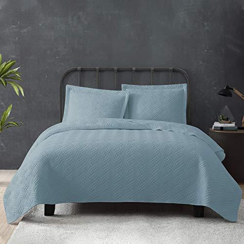 Tempcore Quilt Set Coverlet King Size Light Blue 3 Piece,Microfiber Lightweight Soft Bedspread for All Season,King Light Blue,(1 Quilt,2 Shams)
