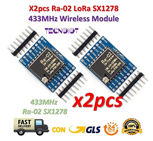 TECNOIOT 2pcs SX1278 Lora 433MHz Ra-02 Wireless Spread Spectrum Transmission Socket Ra02