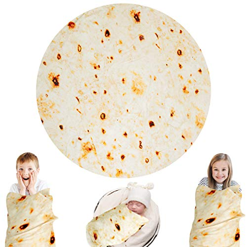 Lhedon Burritos Blanket Kids 49 Inches,Bbay Tortilla Throw Blanket Wearable Funny Wrap Blanket, Giant Swaddle Blanket for Bed, Couch or Travel