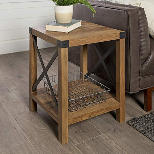Walker Edison Furniture Company Rustic Modern Farmhouse Metal and Wood Square...