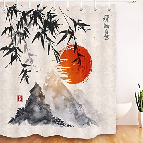 LB Cortina de Ducha de Tinta Japonesa con Ganchos, Cortinas de baño de árboles de bambú Sol montañas Sistema de decoración Resistente al Agua y Moldeado de poliéster de 180x180 cm