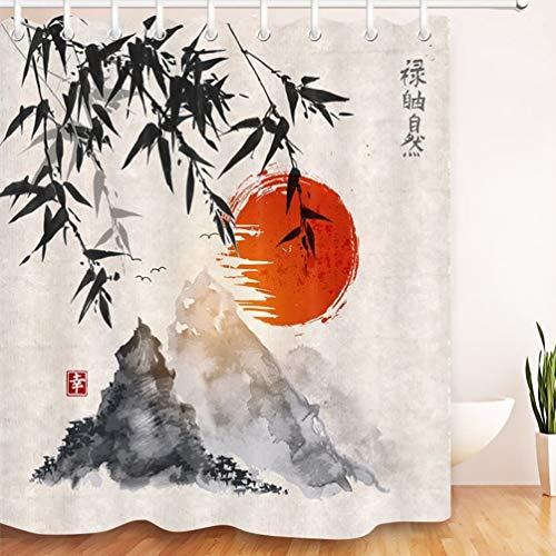 Japanische Tinte Duschvorhang Bambus Bäume Sonne & Berge Badezimmer Gardinen Anti-Schimmel Polyester Fabrik Wasserdichtes Wohnaccessoires Dekor Set mit 12 Haken, 180x180cm