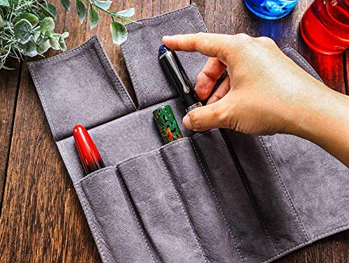 WANCHERペンフォリュームロールケース5本用ブラック本革製ロールタイプペンケースワンチャー万年筆