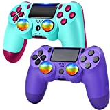 YU33 2 Pack Wireless Controller Compatible with P - 4 with 2 Pack Cables and 4 Rainbow Caps with touchpad/Stereo…