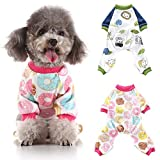 Jinpet 2 Pack Dog Pajamas Puppy Clothes Dog Jumpsuit Pet Pajamas Jumpsuits Clothes for Small Dogs and Cats