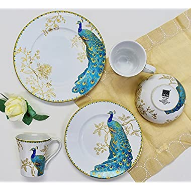 222 Fifth Peacock Garden 16-piece Dinnerware Set, Service for 4