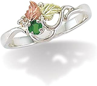 Sterling Silver 3 MM Round Synthetic Soude Emerald Black Hills May Birthstone Ring