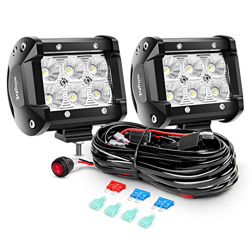 Nilight 2PCS 4 Inch 18W Flood Led Light Bars LED Work Lights Led Fog Lights Off Road Driving Lights With Off Road Wiring Harness, 2 Years Warranty
