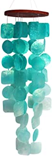 Turquoise Blue Green Capiz Shell Beach Decor Wind Chimes, 27 Inches
