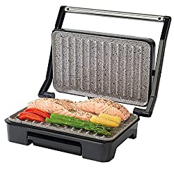 Enjoy cooking a huge variety of foods using little or no oil for delicious, healthier meals with this Salter grill and panini maker. The grey marble coated cooking plates are beautifully non-stick, easy to clean and abrasion resistant for long lastin...