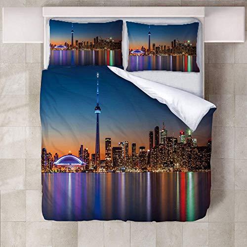 SFALHX Bettwäsche Set, Stadtnachtansicht 135x200cm 3D Bettbezug mit Weiches Polyestergewebe, Atmungsaktiv, Geeignet für allergische Haut