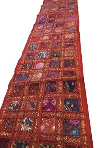 PUSHPACRAFTS Camino de mesa de algodón bordado a mano, estilo indio sari indio, estilo patchwork, bohemio, multicolor, decoración de pared