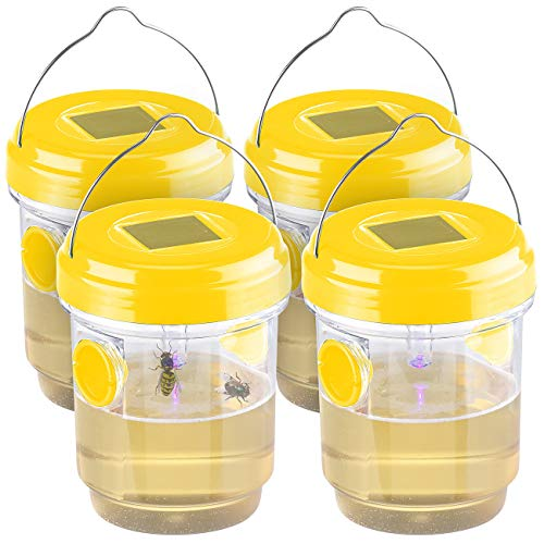 Exbuster Fliegenfalle: 4er-Set giftfreie Solar-LED-Insektenfalle z. Aufhängen oder Hinstellen (Wespen-Falle)
