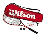 Wilson Starter Squash Kit Set da Squash, Racchetta Impact Pro 300, 2 Palline, 1 Borraccia Acqua e 1 Borsa, WRT913100, Unisex, Rosso/Nero