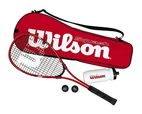 Wilson Squash-Set, Starter Squash Kit, Inkl. 1 Impact Pro 300 Schläger, 2 Bällen, 1 Wasserflasche und 1 Tasche, Rot/Schwarz, WRT913100