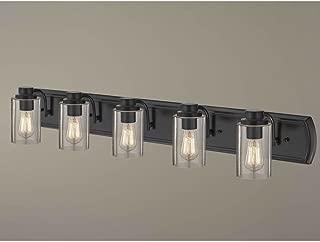 Industrial Seeded Glass Bath Wall Light Bronze 5 Lt